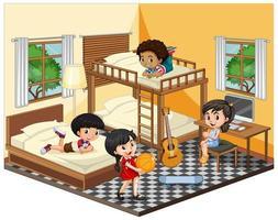 Kinder im Schlafzimmer in der gelben Themenszene auf weißem Hintergrund vektor