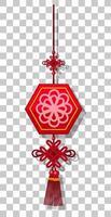 chinesische Laterne, die lokal auf transparentem Hintergrund hängt