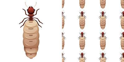 termitinsekter isolerad på vit bakgrund och sömlös