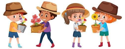 Junge und Mädchen, die Blume im Topfkarikaturcharakter lokalisiert auf weißem Hintergrund halten