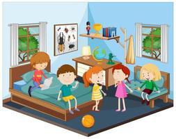 Kinder im Schlafzimmer mit Möbeln in blauem Thema