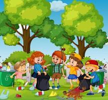 en grupp frivilliga barn som städar parken vektor