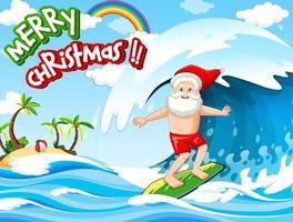 Santa Claus Surfen am Strand für Sommer Weihnachten
