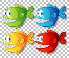 uppsättning olika färger exotiska fisk seriefigurer på transparent bakgrund vektor