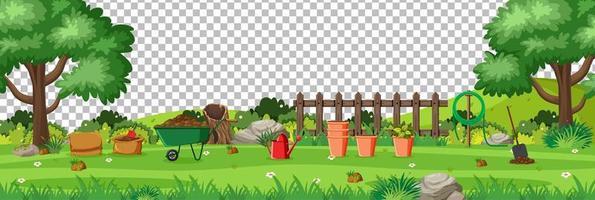 leerer Naturgarten mit Gartenwerkzeugszenenlandschaft auf transparentem Hintergrund