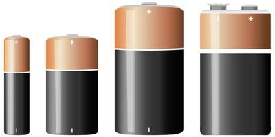 typer av alkaliskt batteri isolerad på vit bakgrund vektor