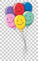 glückliches Gesicht auf vielen Ballons lokalisiert om transparenten Hintergrund vektor