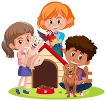 Kinder mit ihren Haustieren lokalisiert auf weißem Hintergrund