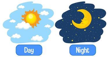 entgegengesetzte Adjektive Wörter mit Tag und Nacht vektor
