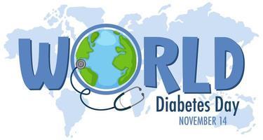 Weltdiabetestag-Logo oder Banner mit dem Globus auf der Karte vektor