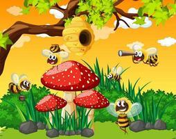 många bin som bor i trädgården med honungskaka vektor