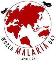 värld malariadag logotyp eller banner med mygga på jorden bakgrund vektor