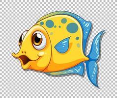 gelbe exotische Fischkarikaturfigur auf transparentem Hintergrund