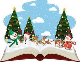Santa auf Schlitten mit vielen Rentieren im Schnee vektor