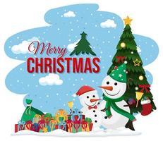 snögubbe firar jul banner