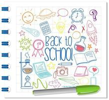 Satz von Schulelementkritzeleien auf Notizbuch