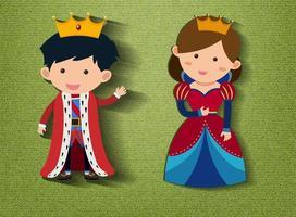 kleine König und Königin Zeichentrickfigur auf grünem Hintergrund vektor