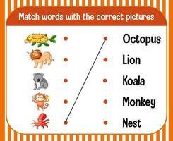 Wort-zu-Bild-Arbeitsblatt für Kinder vektor