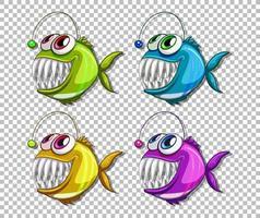 uppsättning olika färger fiskare fisk seriefigurer på transparent bakgrund vektor