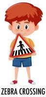 pojke som håller trafikskylt isolerad på vit bakgrund vektor