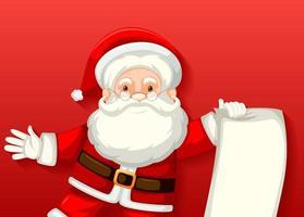 söt jultomten håller tomt papper seriefigur på röd bakgrund vektor