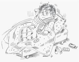 Der Junge wurde krank und lag im Bett vektor