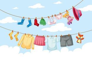Kleider hängen auf Linie mit Himmel Hintergrund vektor