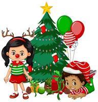 barn bär juldräkt seriefigur med julgran på vit bakgrund vektor
