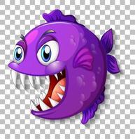 exotisk fisk med stora ögon seriefigur på transparent bakgrund vektor