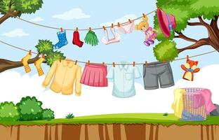 Kleider hängen online im Hof vektor