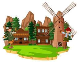 gård med röd ladugård och väderkvarn på vit bakgrund vektor