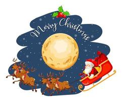 jultomten på släden på himlen på natten vektor