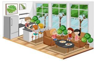 lycklig familj i vardagsrummet och i köket