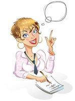Geschäftsfrau. Gedankenblase. vektor