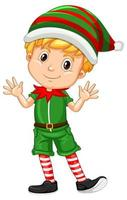 söt pojke som bär juldräkter seriefigur vektor