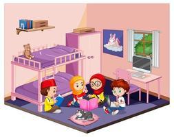 Kinder im Schlafzimmer in der rosa Themenszene auf weißem Hintergrund