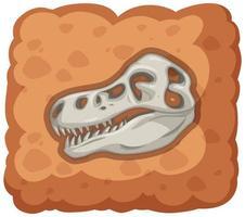 fossil av utdöd dinosaurie på vit bakgrund vektor