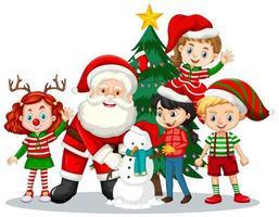 jultomten med barn bär juldräkt seriefigur på vit bakgrund vektor