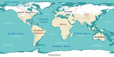 Weltkarte mit Kontinentennamen und Ozeanen vektor