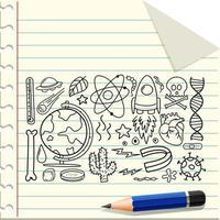 verschiedene Gekritzelstriche über wissenschaftliche Ausrüstung, die mit einem Bleistift auf Papier isoliert wurden