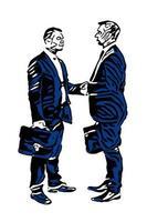 zwei Geschäftsleute, die sich die Hand geben vektor