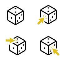 uppsättning med fyra tärningar och gula pilar vektor