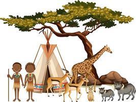 afrikanischer Stamm mit Gruppe des wilden afrikanischen Tieres auf weißem Hintergrund vektor