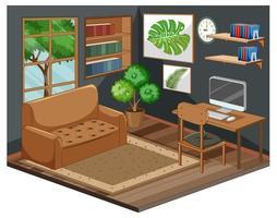 vardagsrumsinredning med möbler