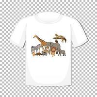 Wildtiergruppenentwurf auf T-Shirt lokalisiert auf transparentem Hintergrund
