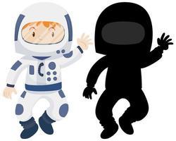Kind, das Astronautenkostüm mit seiner Silhouette trägt vektor