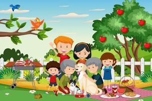 picknickplats med lycklig familj i trädgården vektor