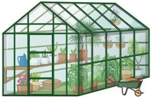 många växter i växthus med glasvägg och skottkärra på vit bakgrund