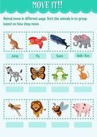 Sortieren Sie das Tier in die Gruppe, basierend darauf, wie es das Arbeitsblatt für den Kindergarten bewegt