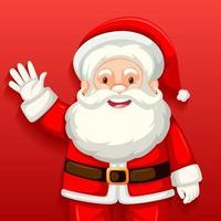 söt jultomten seriefigur på röd bakgrund vektor
